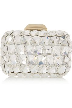 Cloud crystal embellished metallic leather clutch by Jimmy Choo