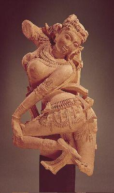 Celestial Dancer,11th century India: Uttar Pradesh, 1000-1099 Sandstone 36 x 19 in. (91.4 x 48.3 cm) Norton Simon Art Foundation, from the Estate of Jennifer Jones Simon M.2010.1.15.S