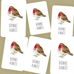 Lot de 6 Cartes Bonne Année 'Rouge Gorge' création originale Card Bubble avec enveloppes : Cartes par card-bubble