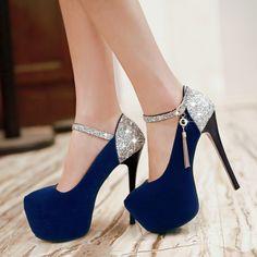 High Heels Platform Ankle Strap Women Pumps