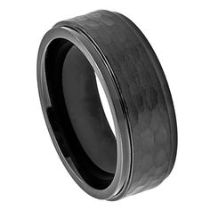 MSRP:$299.99    Our Price:$89.99    Savings: $210.00        Item Number: 357    Availability:Usually Ships in 5 Business Days        Product Description:    Crafted in Durable Cobalt, this classic wedding band for him features a Hammered band design with a blackened satin center and step-down edges. Cobalt because of its toughness, affordability, scratch resistance and hypoallergenic properties has become a material of choice in wedding jewelry. Available in a wide range of designs…
