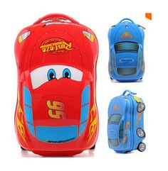 2016 ABS spinner wheel kids luggage child travel trolley bag boys and girls rolling cartoon car