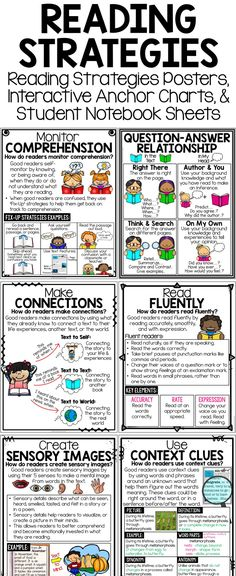 Reading Strategies Posters, Interactive Reading Strategies Anchor Charts & Student Notebook Pages (perfect for interactive notebooks)! Includes making connections, monitoring comprehension, visualizing, making inferences, making predictions, drawing conclusions, and more!| Reading Posters | Reading Anchor Charts | Reading Poster | Reading Anchor Chart | Reading Comprehension