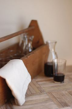 Vintage Wooden Toolbox Wine Carafe Carrier