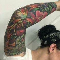 Floral Tattoo Sleeve by Selina Medina @girlytattoos