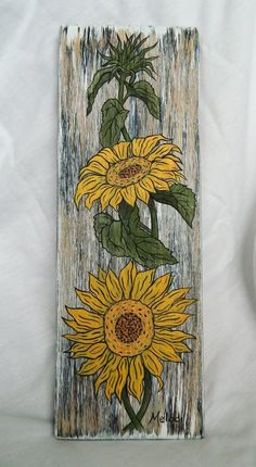 Painted Sunflowers on Wood Wooden Painting, Primitive Painting, Wood Canvas, Canvas Art, Sunflower Wall Decor, Farm Paintings, Daisy Painting, Christmas Paintings, Bottle Painting