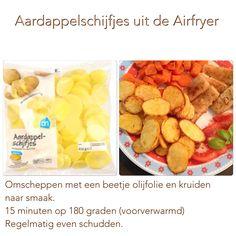 Aardappelschijfjes uit de Airfryer. 15 minuten, 180 graden. AK