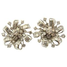 Retro Diamond Earrings (circa 1940s) - Diamond Cluster Earrings signed Marcus & Co. with Various Cuts of Diamonds Mounted in Platinum