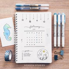 """9,218 Likes, 33 Comments - Notebook Therapy (@notebook_therapy) on Instagram: """"Lovely nautical themed February spread by @nohnoh.studies ✨ really in the mood to visit an…"""""""