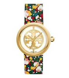 Tory Burch Reva Watch, Printed Leather/gold-tone, 36 Mm