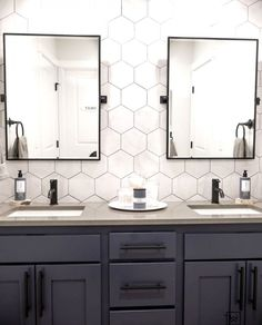 The big reveal is finally here! What started out as a simple tile job turned into a major bathroom renovation and I'm truly so glad we did… #SmallBathroomDesign