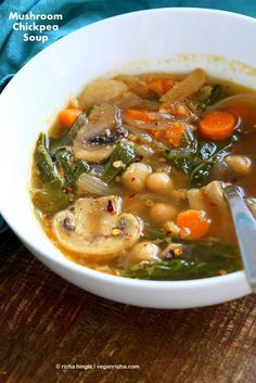Mushroom Chickpea Soup with Veggies, greens. Winter Brothy soup with spices   VeganRicha.com #vegan #soup #glutenfree