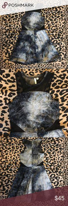 Frenchi Velvet cut-out skater dress Black and gray sheer cutout crushed velvet skater dress.  Brand new, never worn.  Without tags Frenchi Dresses Mini