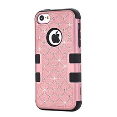 Playful and Fun -Bling Glitter Hard Case for iPhone 5C New Luxury Full Protective Shockproof Soft Rubber Silicone Armor Phone Cover