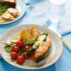 One-sheet pan, fancy AF, salmon dinner for YES you can, and YES it's that easy. Click the link below to shop the Epicurean Cuttingboard Collection. dinner for 4 Herb Baked Salmon Grilled Salmon Recipes, Baked Salmon, Fish Recipes, Seafood Recipes, Dinner Recipes, Cooking Recipes, Healthy Recipes, Easy Cooking, Tuscan Salmon Recipe