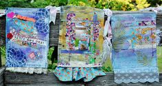 mixed media prayer flags by Amy Lassiter Prayer Box, Prayer Flags, Inspirational Prayers, Fabric Stamping, Fabric Journals, Just Dream, Fabric Art, Handmade Art, Textile Art