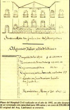 Plano del Hospital Civil realizado en el año de 1892, un año después de ser terminado, con capacidad para 100 camas y un costo de $50,000.00   el original del Arq. Lanfranco se extravió.