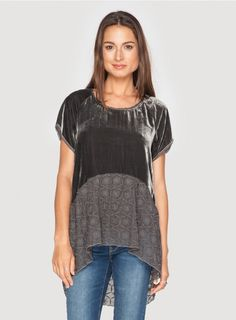 Johnny Was Clothing 4 Love and Liberty Velvet and Embroidered Silk Chiffon Dree Blouse in Gravel Johnny Was Clothing, Velvet Shorts, Velvet Tops, Boho Tops, Fashion Fabric, Silk Chiffon, Casual Tops, Blouses For Women, Fashion Outfits
