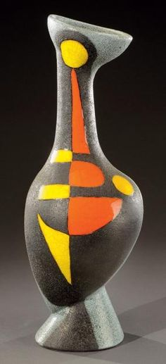 Vase by Gilbert Valentin, Vallauris, France I love this piece! There is something primitive about it, yet oh so modern! And a lovely rhythm in its asymmetry.