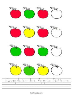 Complete the Apple Pattern Worksheet - Twisty Noodle