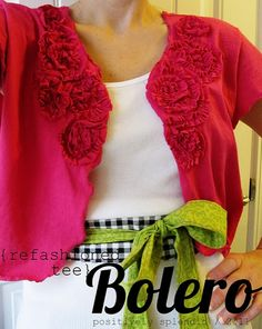 DIY Sewing Projects Clothing using recycled clothes   Refashioned t shirt into a floral-ly Bolero - tutorial by Positively ...