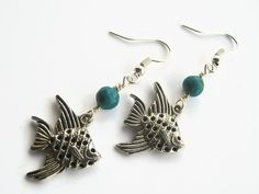 Angelfish Earrings Turquosie Earrings Beach by Abundantearthworks  #angelfish #angelfishearrings #turquoise #turquoiseearrings #dangleearrings #aquaticearrings #beach #ocean #fishearrings #nautical #blue #silver #abundantearthworks