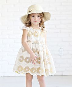 Mustard Lace Ava Cap-Sleeve Dress - Infant, Toddler & Girls
