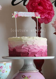Pink ombre cake. This frosting looks like clay. Love it!