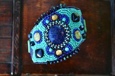 Wide cuff Lapis Lazuli Bead embroidered cuff by TaitallasHandmade