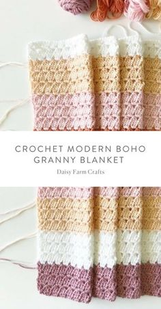 Free Pattern – Crochet Modern Boho Granny Blanket Free Pattern – Crochet Modern Boho Granny Blanket Related Free Crochet Knee High Socks Easy Crochet Stitches You Can Use for Any ProjectEasiest Crochet. Crochet Afghans, Afghan Crochet Patterns, Baby Blanket Crochet, Crochet Stitches, Crochet Blankets, Baby Blankets, Modern Crochet Blanket, Modern Crochet Patterns, Crochet Edgings