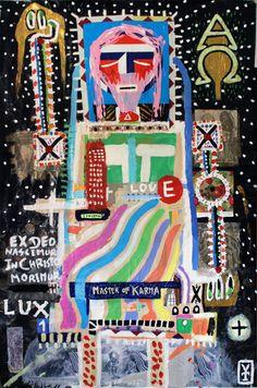 El Señor - acrylic, oil pastels, collage on canvas - 2015