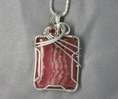 AFRICAN RHODOCHROSITE  Wire Wrapped Pendant in Sterling Silver