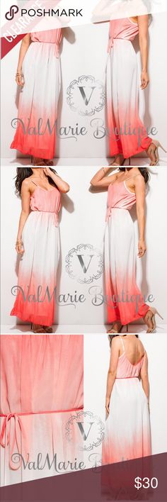 """CLEARANCE Sunrise Beach Maxi Dress Double lined and oh so gorgeous. Has adjustable straps and fits true to size with self tie sash. S(2-4) M(6-8) L(10-12) Apprx 57"""" and can be made longer or shorter with adjustable straps. Made of  100% premium soft knit polyester. Do not dry clean. Hand wash cold. ValMarie Dresses Maxi"""