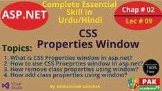 ASP.Net: Use the CSS Properties window [Ch # 02 | Lec 09] What Is Css, Markup Language, Programming Languages, Web Application, Presentation, Knowledge, How To Remove, Teacher, Windows