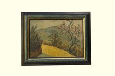 A French landscape painting depicting a country road with a view of mountains in the distance. The artwork has been painted in a palette of warm