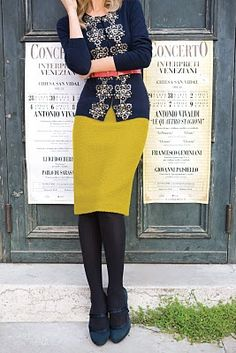 Navy cardigan, mustard pencil skirt, coral skinny belt, work outfit