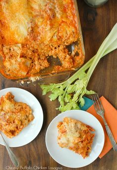 Everything you love about 'wings' in an easy lasagna! Cheesy Buffalo Chicken Lasagna - BoulderLocavore.com