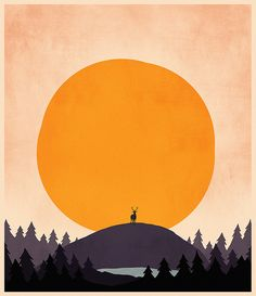 Art work shows sun with large hill with deer standing on top - very nice! By SgtSalt