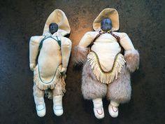 2 Authentic Eskimo / Inuit Tea Dolls, soapstone head, hand-stitched chewed skin #Unbranded #Dolls