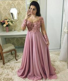 A imagem pode conter: 1 pessoa pink prom dresses, modest dresses, fall dres Cheap Party Dresses, Pink Prom Dresses, Prom Dresses With Sleeves, Wedding Party Dresses, Modest Dresses, Plus Size Evening Gown, Formal Evening Dresses, Evening Gowns, Formal Prom