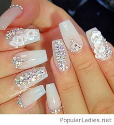 New nail art design so feminine and elegant