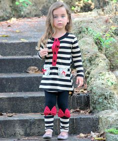Another great find on #zulily! Black & Taupe Stripe Tunic & Leggings - Girls #zulilyfinds