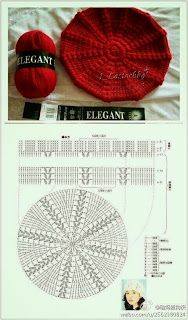Crochet Beret - Chart by TamidP Crochet Beret Pattern, Bonnet Crochet, Crochet Cap, Crochet Shoes, Crochet Diagram, Crochet Beanie, Love Crochet, Crochet Clothes, Crochet Stitches
