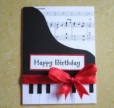 Piano Happy Birthday Card Music themed by DreamsByTheRiver on Etsy