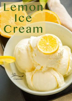 The creamiest Fresh Lemon Custard Ice Cream that's a summer must try! It's like no other ice cream you've had, homemade or store-bought. The tart, citrus flavor is unique and so refreshing because it's made with fresh lemon juice in the lemon curd. The Lemon curd turns into a creamy lemon custard, then frozen until it's perfectly delicious.