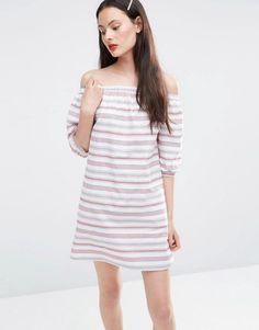 Off Shoulder Sundress in Stripe by ASOS. Dress by ASOS Collection, Lightweight cotton, Bardot neckline, Off-the-shoulder design, Curved hem, Relaxed fit, Mach...