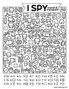 Free Printable I Spy Road Trip Activity {Travel & Transport} - Paper Trail Desig. - Free Printable I Spy Road Trip Activity {Travel & Transport} – Paper Trail Design Free Prin - Road Trip Activities, Summer Activities, Preschool Activities, Kids Printable Activities, Sons Initiaux, I Spy Games, Kid Games, Puzzle Games, Activity Sheets For Kids