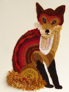 Freeform crocheted Fox by Ann*Benoot, inspired by Zentangle Drawing of power animals. Textile art 'painting' 40x50 cm
