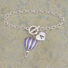 Custom Initial Hot Air Balloon Bracelet, Now only $9.98  // Help support the cause, Help make a difference is someone life with there own personalized Gatesway bracelet // Shop Charming Collectables //