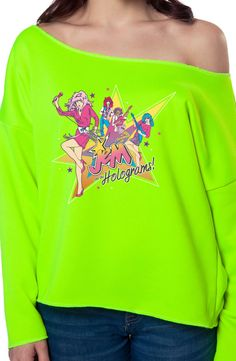 Neon Jem Band Sweatshirt: 80s Cartoons Jem & The Holograms T-shirt